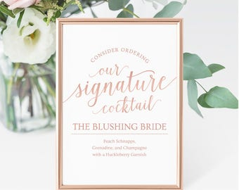 Rose Gold Cocktail Sign Wedding // Signature Drink Printable // Editable Drink Sign Wedding // Rose Gold Wedding Signs