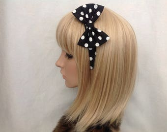 Black and white Polka dot print fabric headband hair bow rockabilly psychobilly pin up girl vintage retro cute kawaii accessories