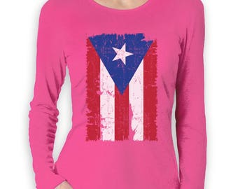 Vintage Distressed Puerto Rico Flag Women Long Sleeve T-Shirt