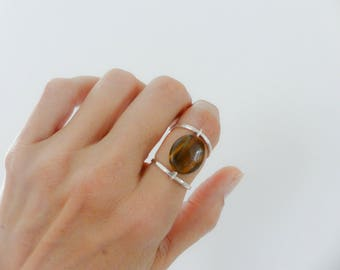Tiger's Eye Ring//Sterling Silver Ring//Women Ring//Handmade Jewelry