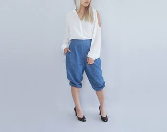 Denim jeans drop crotch loose parachute harem slouchy pants capri