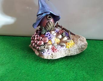 Hand crafted polymer clay fairy cottage