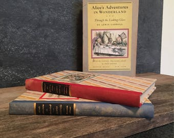 Alice's Adventures in Wonderland & Through the Looking Glass - Mid century Collectible - Two volume by Lewis  Carroll - 1949 Special Edition