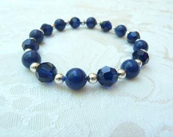Swarovski Dark Lapis Dark Indigo Crystal Stretch Bracelet- Swarovski Dark Blue Pearl Crystal Bracelet- Swarovski Bridesmaids Bracelet- 623