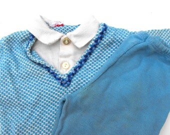 1940s Little Boy Blue Outfit Vintage 40s Birdy Togs Baby Toddler Checkered Knit Sweater White Collared Button Up Shirt and Matching Trousers