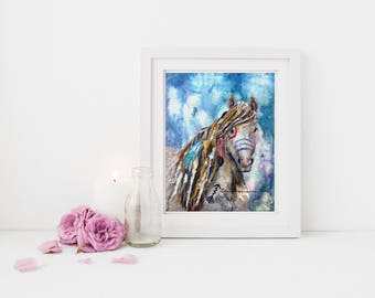 Native American painted horse print - horse art, tribal art, horse wall decor, horse lover gift, Indian war horse, horse feather