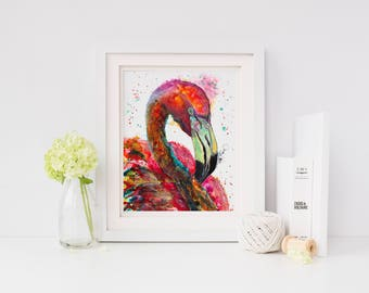 Flamingo art: colorful nursery animal art tropical bird wall art flamingo painting flamingo florida art flamingo wall decor flamingo gift