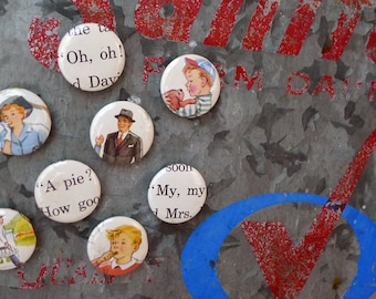 Set of Eight Vintage Book Button Magnets 1 inch Ceramic Magnet