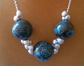 FlirtyBlue Clay and Crystal Necklace