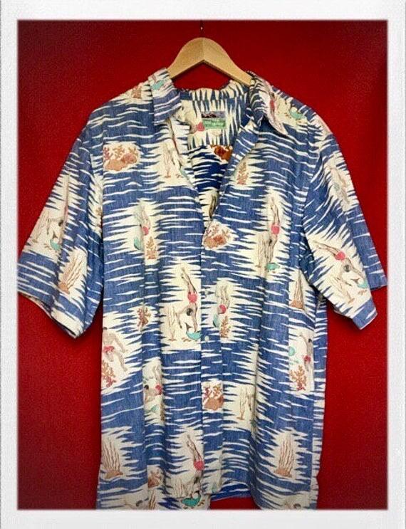Vintage Men's Hawaiian Shirt Spear Fishing Extra Large