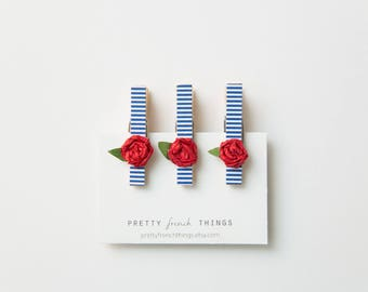 French-inspired Mini Clothespin Magnet set- blue and white stripes with red rosebuds
