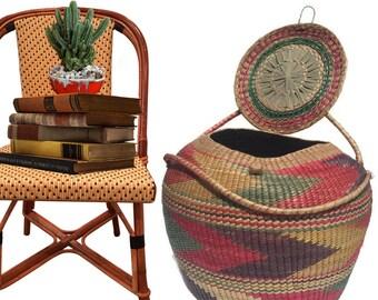 """Vintage Hand Woven Basket Basket Laundry Hamper Towel Storage Bin African Basket Tribal Bohemian Home Decor Storage Basket 23"""" Cobra Basket"""
