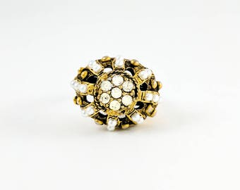 Brutalist ABSTRACT STATEMENT RING Vintage Modernist Style Vintage Jewellery 1960s Adjustable Costume Pearl Cluster Rhinestone