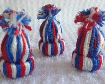 "Dollhouse Miniature Knitted Hat ""Red White & Blue"""