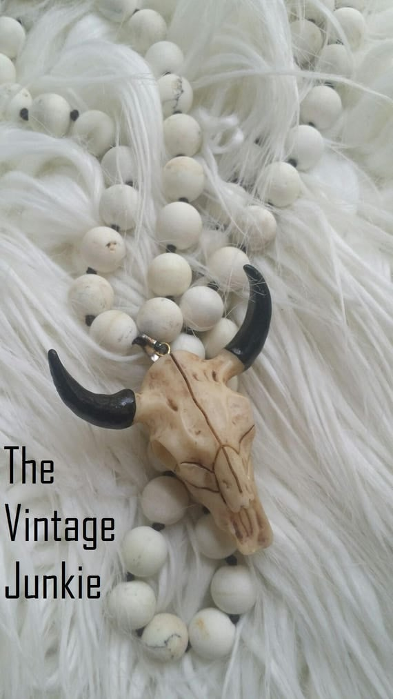 BoHO, White Stone beaded necklace with large carved Steer Skull Pendant