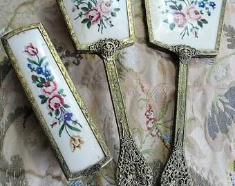 BEAUTIFUL Vintage Dresser Vanity Set Petit Point Pink Roses Hair Brush, Beveled Mirror, Clothes Brush Ornate Gilt Metal Filigree Handles