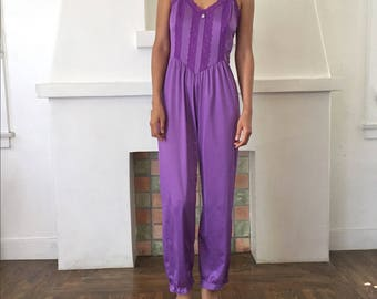 VTG Delicate Lingerie Style Lace and Ruffle Trim Ruffle Hem Jumpsuit Onsie Bodysuit