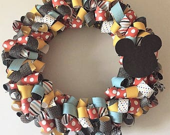 Mickey inspired Curly Scrapbook Paper Wreath