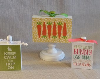 Wood Blocks, set of 3, home decor, Easter Fun, Keep Calm and Hop On, Easter Subway, Carrots, Happy Easter, ready to ship