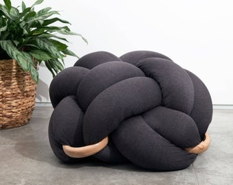 Large Knot Floor Cushion in dark grey, Knot Floor Pillow pouf, Modern pouf, cushion, pouf ottoman, Meditation Pillow,