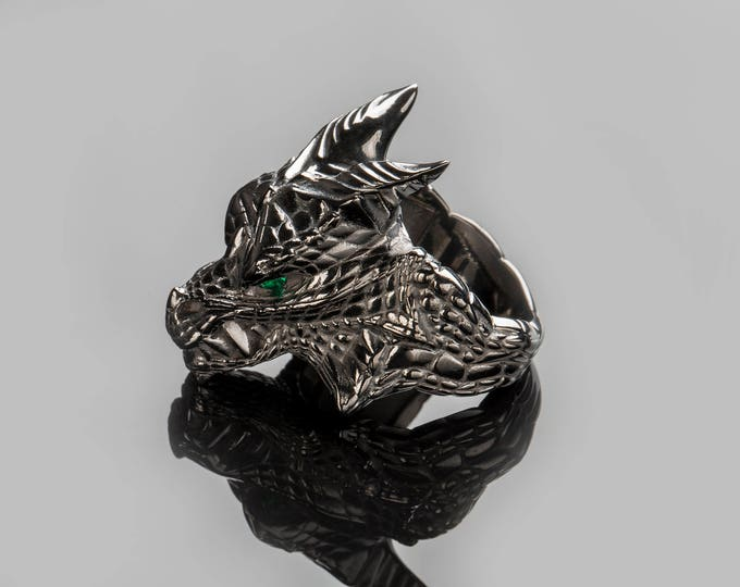 "Featured listing image: House Targaryen Dragon Ring, ""Game of Thrones "" inspired ""Houses of Westeros"", Black Silver Dragon GemstoneFire and Blood Ring"