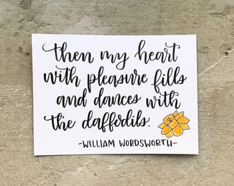 Daffodil hand lettered calligraphy mini print - original! Flower quote, inspirational