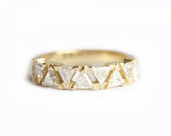 Diamond Wedding Ring, Diamond Wedding Band, Triangle Diamond Ring, Trillion Diamond Band, Half Eternity Band, Unique Diamond Band