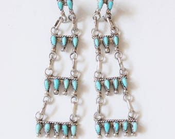 Turquoise earrings, Zuni, native american, Indian, tribal, vintage, dangle, 925, sterling silver, handmade, stamped.