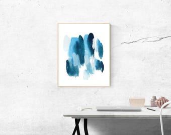 Oceans - Minimal Blue Watercolor Digital Print (Instant Printable Image & Desktop/Smartphone Wallpaper)