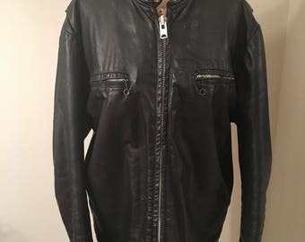 Vintage 1960s Men's Beau Breed Black Leather Motorcycle Size 42 Zippers Moto Rocker Hipster Snap Collar Size Large