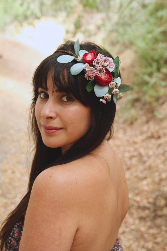Flower Crown. Flower crown wedding. Green Flower Crown. Side Flower crown.Wedding crown. Flower crown adult.