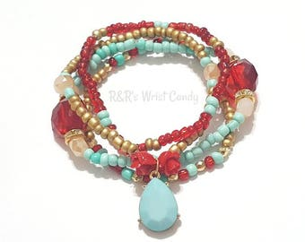 Red, Gold, Tan, Teal Beaded Bracelet, Stackable, Stretchy, Rose Bracelet, Womens Bridal Gifts, Custom, Handmade Beaded Jewelry