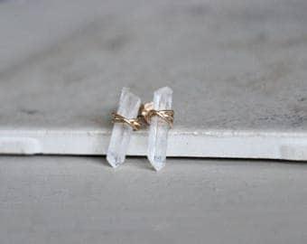 Quartz Crystal Earrings, Crystal Points Studs, Studs, Raw Quartz Studs, Quartz Studs