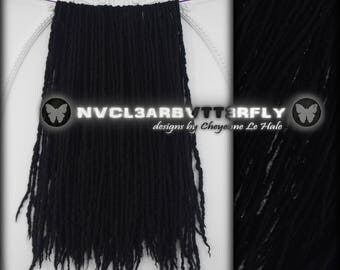 """Merino Wool Dreads - 40DE - 17""""- 21"""" (Total Length = 34""""- 42"""") Solid Black Thin Dreadlocks - Double-Ended Hair Extensions"""