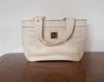 Authentic Vintage White Leather Dooney & Bourke Shoulder Handbag Retro Fashion 70's Chic Scarlet Lining