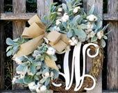 Lambs Ear Wreath, Cotton Wreath, Initial Wreath, Fixer Upper Decor, Cotton Boll Wreath, Outdoor Wreaths, Farmhouse Wreath, Fall Wreath