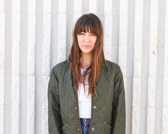 Vintage Army Green Quilted Work Wear Jacket