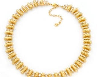 Jackie Kennedy Signature Necklace - Gold Plated, Crystals, Box and Certificate