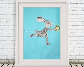 Bunny print, Rabbit Print, running rabbit, Art Poster, Kids Decor Drawing, gift for rabbit lovers, alice in wonderland