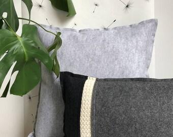Wool pillow dark grey basis colour, felt with wool crochet pillow