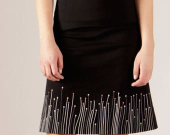Black Dewdrop Skirt, (Mini, Knee and Long length)