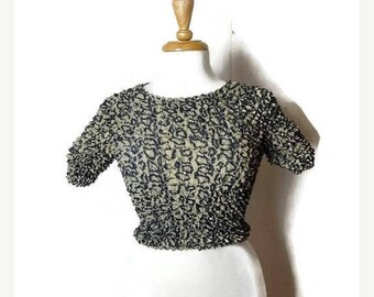 ON SALE Vintage Stretchy crinkly Popcorn Blouse from 90's/Python*