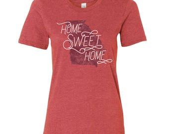 Georgia Home Sweet Home - State Pride Womens Ringspun T Shirt - Heather Red
