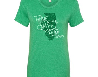 Illinois Home Sweet Home - State Pride Womens Ringspun T Shirt - Heather Green