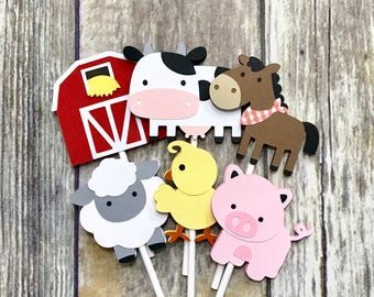 Farm Cupcake Toppers / Farm Animal Cupcake Toppers /  Barnyard Animals - Set of 12