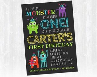 Monster Birthday Invitation, Little Monster Birthday Invitation, Boy Birthday Invitation, Digital Printable Invitation