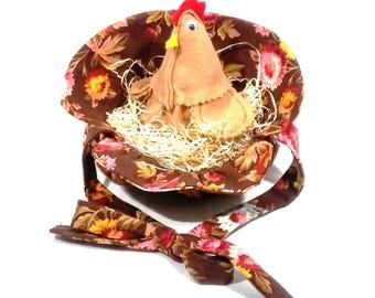 Granny Chic Kitchen Decor, Farmhouse Chicken in Sunbonnet, Farm Animal Country Kitchen Decor