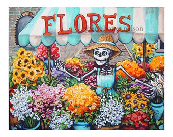 Day of the Dead Calavera Flower Seller Mexican Folk Art by Bones Nelson Giclee Print Skeleton Flores Market Wall Art Poster