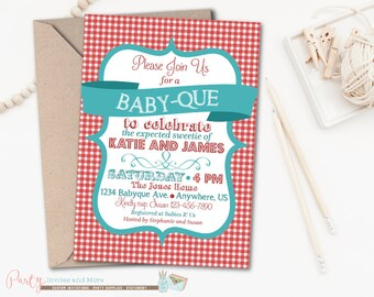BBQ Baby Shower Invitation, Barbeque Baby Shower, Baby Q invitation, Red Gingham Baby Shower Invitation, Babyq, Couples Baby Shower