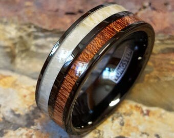Black Tungsten Ring with Koa Wood and Deer Antler Inlay Comfort Fit Personalized Engraving Mans Womens Wedding Band AZ218